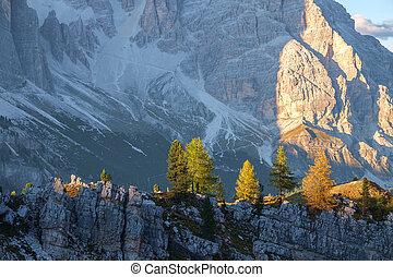 dolomiti, montagna, tipico, italia, paesaggio