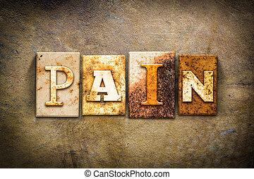 dolor, concepto, texto impreso, cuero, tema