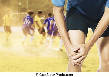 dolor, corredor, atleta, debido, torcer, pie, conmovedor,...