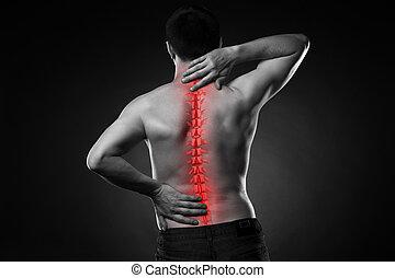 dolor, cuello, espalda, espina dorsal, humano, lesión, dolor de espalda, hombre
