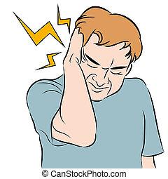 dolor de cabeza, hombre
