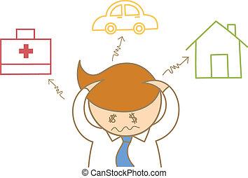 dolor de cabeza, sobre, gasto, empresa / negocio, coche, carácter, salud, casa, deuda, caricatura, cuidado, hombre