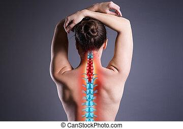 dolor de espalda, gris, mujer, dolor, espina dorsal, espalda, plano de fondo, lesión