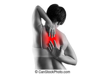 dolor de espalda, mujer, dolor, espalda, aislado, sufrimiento, plano de fondo, blanco