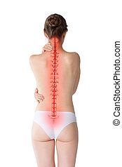 dolor de espalda, mujer, dolor, espina dorsal, aislado, plano de fondo, espalda, blanco, lesión