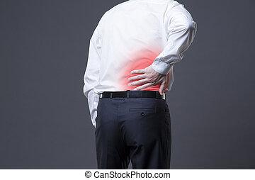 dolor de espalda, riñón, inflamación, dolor, en, hombre, cuerpo