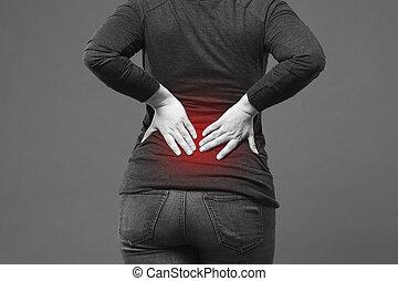 dolor de espalda, riñón, inflamación, dolor, en, mujer, cuerpo