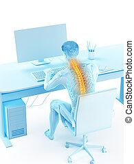 dolor de espalda, teniendo, debido, hombre que sienta