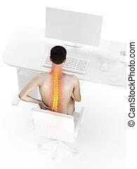 dolor de espalda, teniendo, hombre