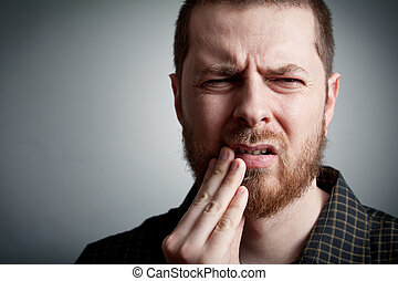 dolor de muelas, -, hombre, con, dientes, problemas