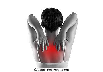 dolor, dolor de espalda, plano de fondo, sufrimiento, blanco, aislado, espalda, mujer