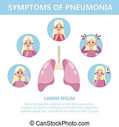 dolor, illustration., síntomas, pneumonia, infographic, tos