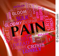 dolor, palabra, representa, tormento, malestar, y, texto