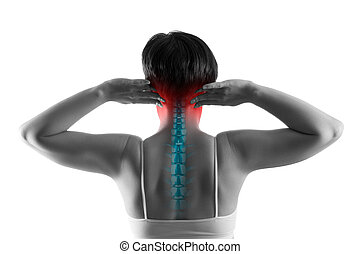 dolor, quiropráctico, tratamiento, concepto, escoliosis, cuello, fondo blanco, aislado, espina dorsal cervical, ciática