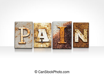 dolor, texto impreso, concepto, aislado, blanco