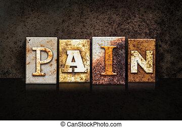dolor, texto impreso, concepto, en, fondo oscuro