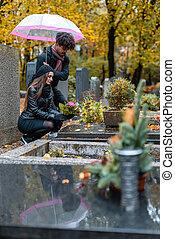 dolore, cadere, coppia, cimitero