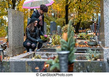 dolore, coppia, cimitero, cadere