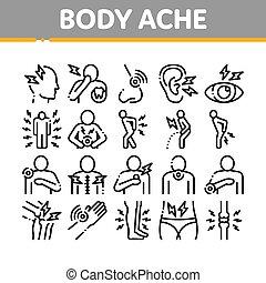dolore, icone, corpo, elementi, vettore, collezione, set