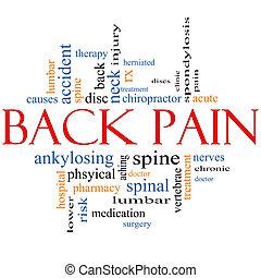 dolore schiena, parola, nuvola, concetto