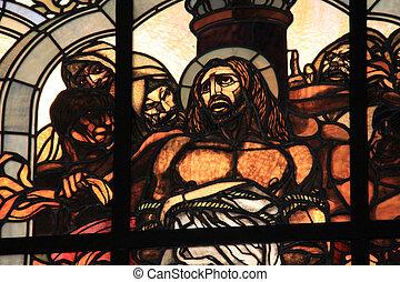 dolorosa, via, christ, vitraux, arrêt, fenêtre, jésus, seconde, station, flagellation, église