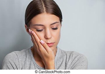 doloroso, atraente, mulher, problemas, toothache., experimentando, dente