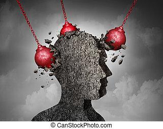 doloroso, dolor de cabeza, concepto