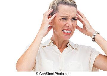 doloroso, dolor de cabeza, mujer de negocios