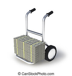 Dolors trolley - Dolor stack of banknotes on a trolley
