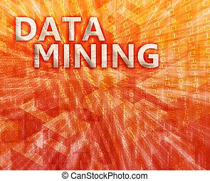 dolování, data, ilustrace