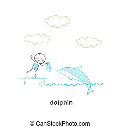 dolphin and man