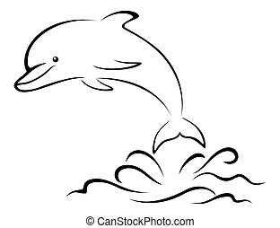Dolphin and Sea Waves, Contour - Cartoon Dolphin Jumping ...