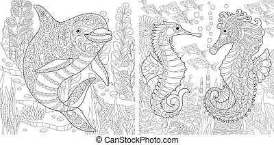 Dolphin and Seahorse. Coloring pages