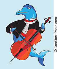 Dolphin and violoncello