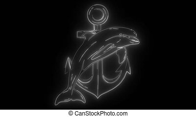 dolphin around an anchor, an ancient symbol of the sea,