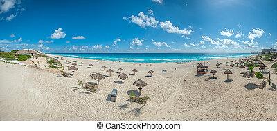 Dolphin Beach panorama, Cancun, Mexico