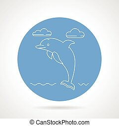 Dolphin blue round vector icon