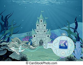 Dolphin carriage - Illustration of fairytale dolphin...