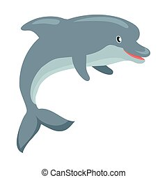 Dolphin Cartoon Flat Vector Illustration - Dolphin cartoon...