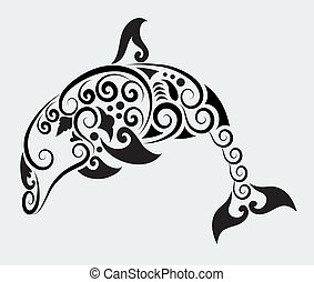 Dolphin drawing with curl ornament decoration in vector file.