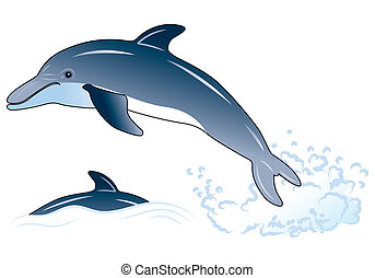 Dolphin, element for design, vector illustration