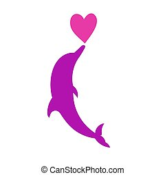 Dolphin heart silhouette vector illustration