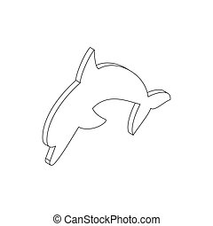 Dolphin icon, isometric 3d style