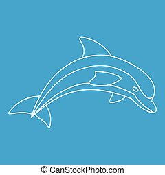 Dolphin icon, outline style