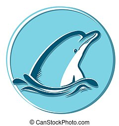 Dolphin in sea.Vector symbol illustration isolated on white