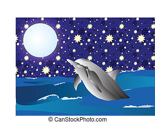 Dolphin in the night