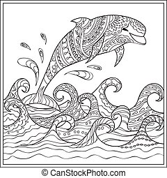 Dolphin in the waves - Hand drawn decorated dolphin in the...