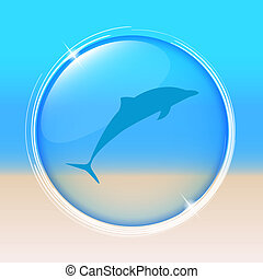 dolphin inside a blue bubble beach background