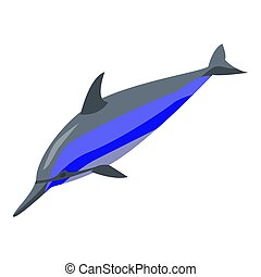 Dolphin jump icon, isometric style