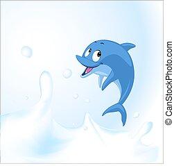 Dolphin jump in milk sea - vector illustration